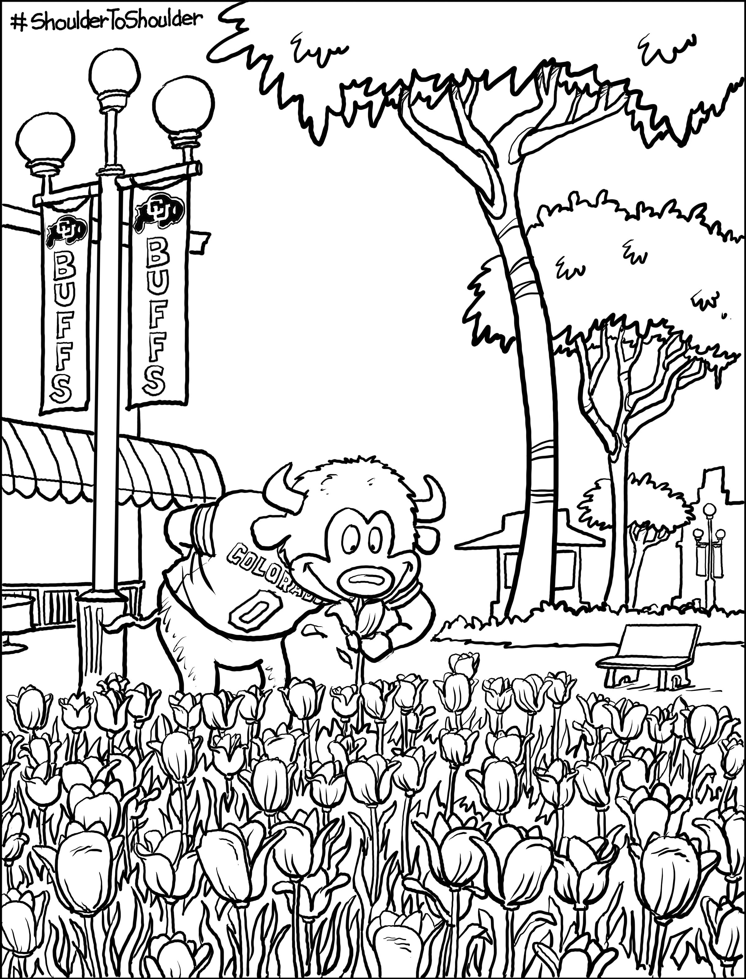 coloring page of Cu mascot Chip sniffing tulips