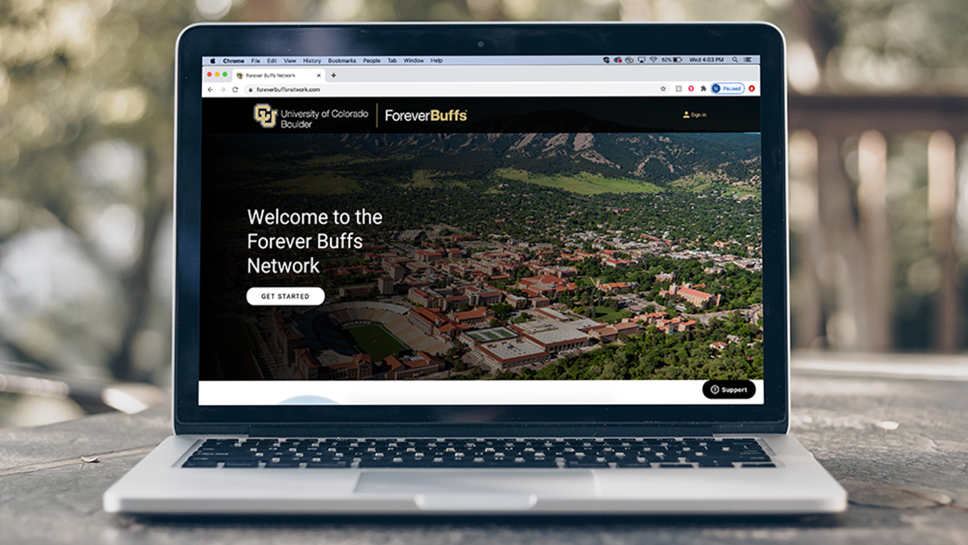 Forever Buffs Network homepage on a computer screen