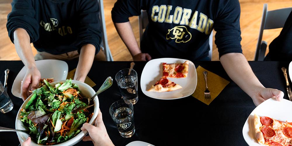 dinner table set for CU Boulder networking event