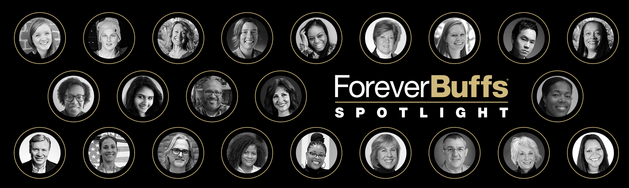 banner with previous presenters of the Forever Buffs Spotlight