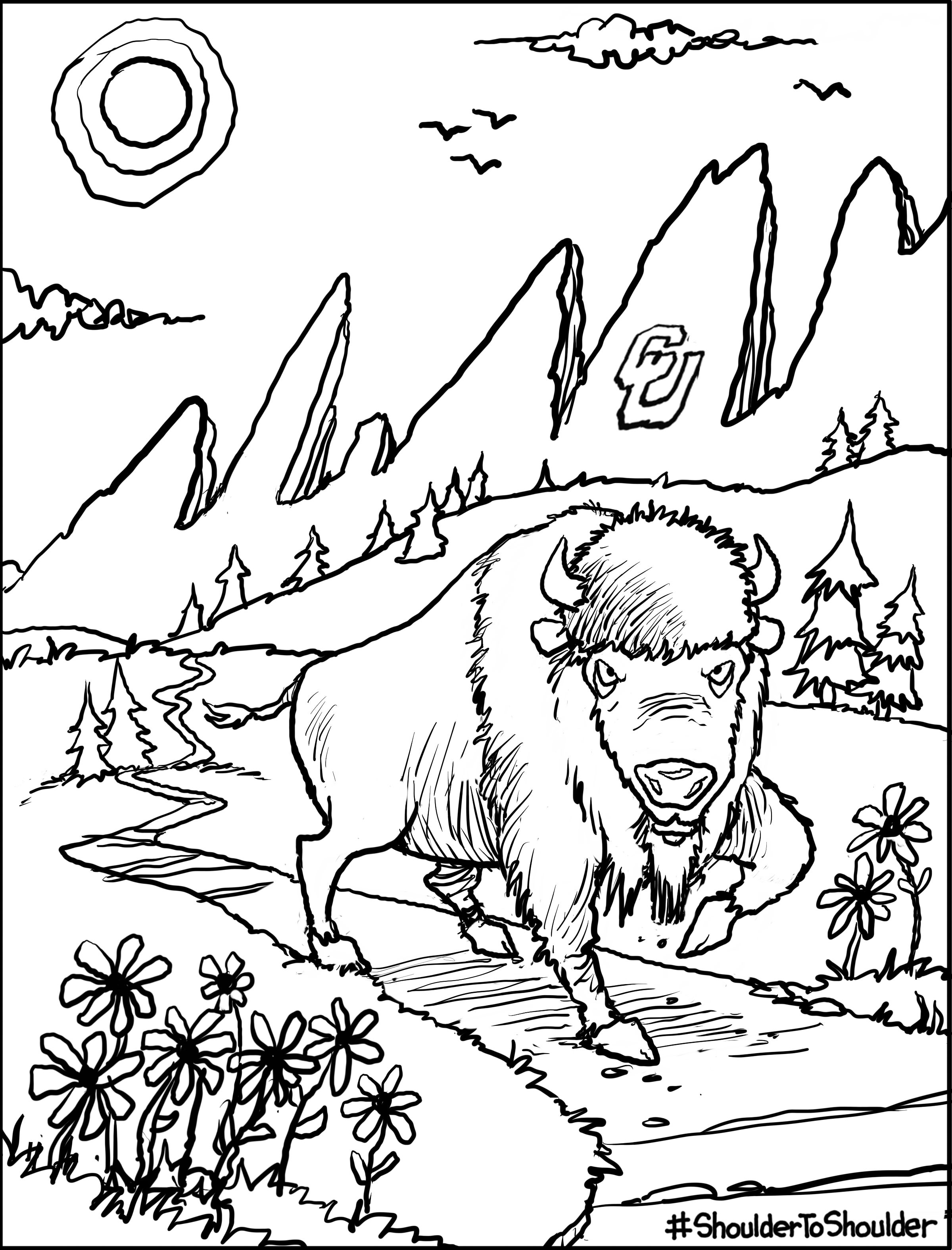 lineart of CU mascot Ralphie hiking in the flatirons