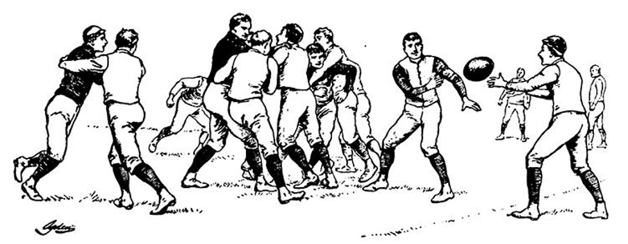 Drawing of men playing football