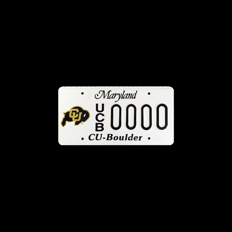 CU Boulder Maryland license plate