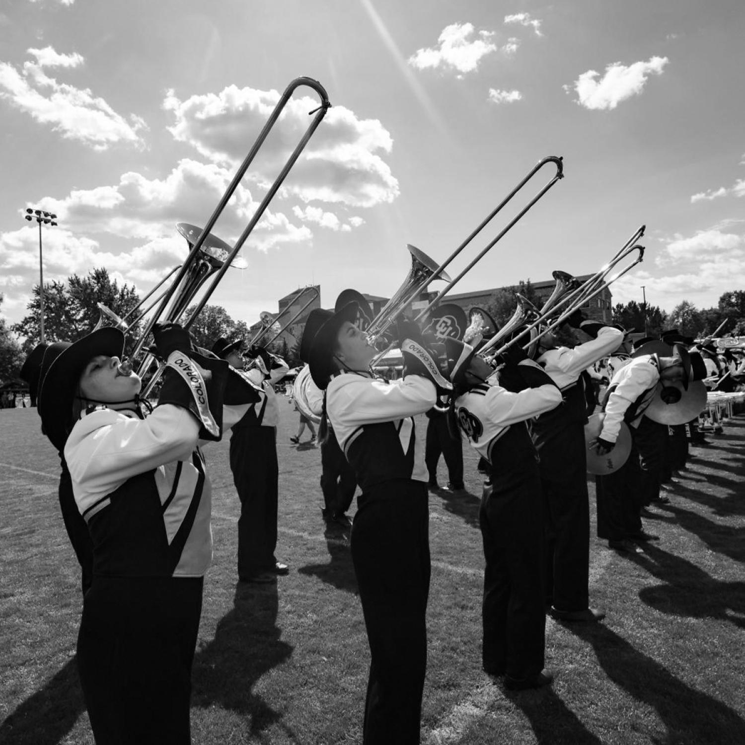 Black and white photo of the CU band