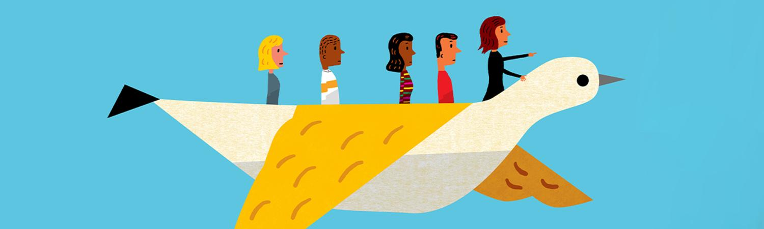 Coloradan feature story illustration of leaders flying on a bird