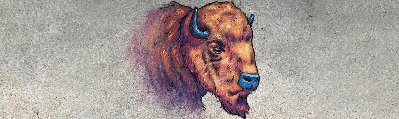 Chalk art of CU Boulder mascot Ralphie
