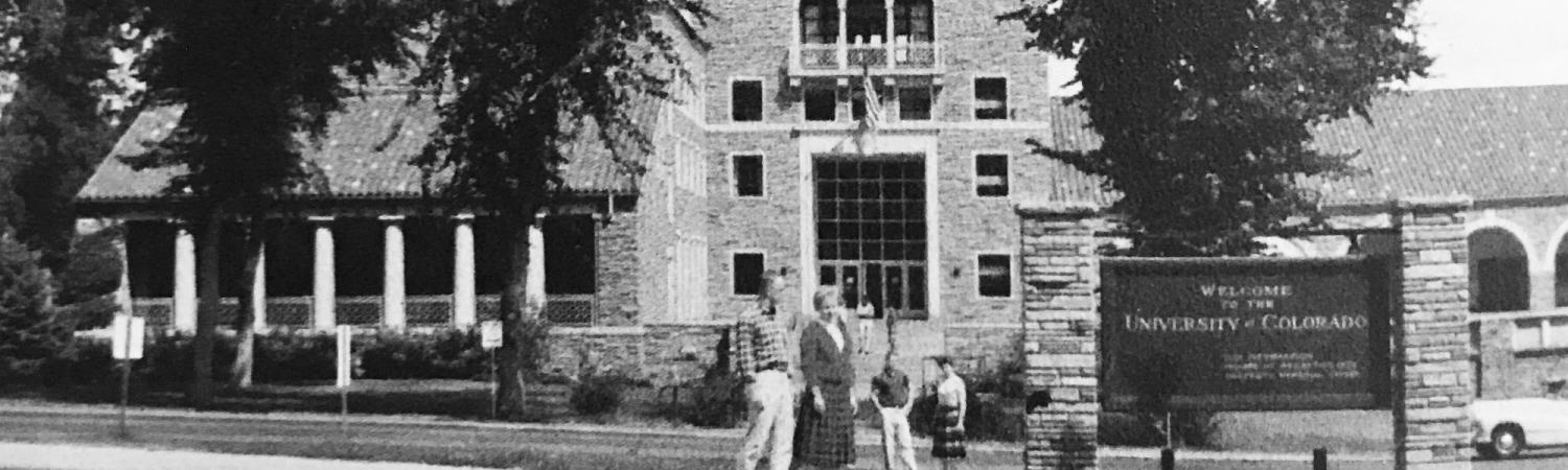 historical photo of students on CU campus