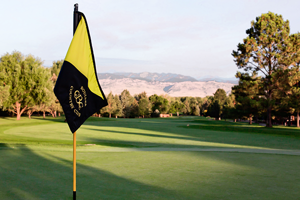 Golf Course with flag that reads Boulder Country Club