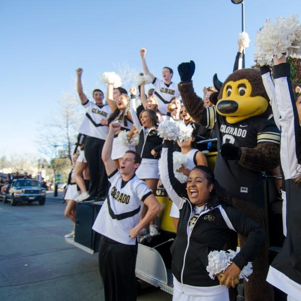 chip and cu boulder spirit squad during homecoming