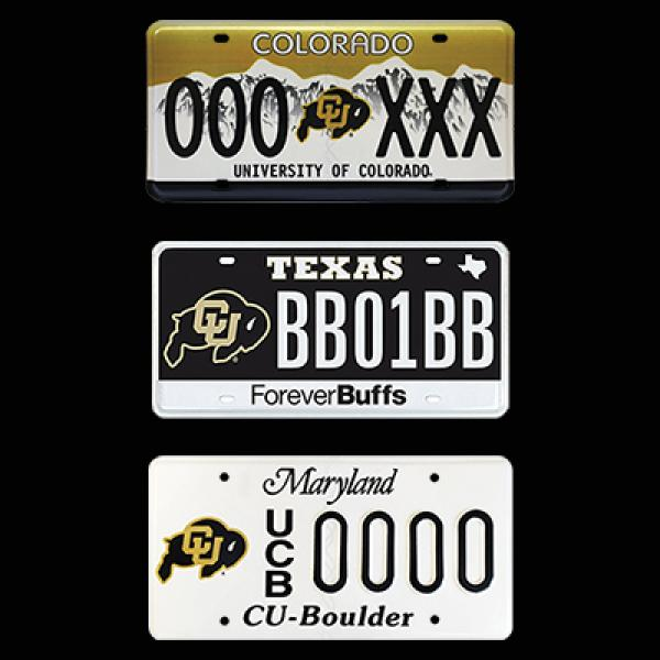 CU license plates in Colorado, Texas and Maryland.