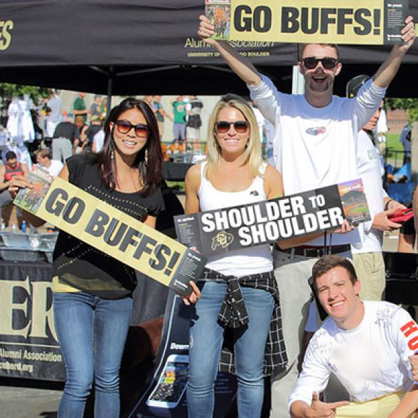 fans at a cu boulder tailgate before the game
