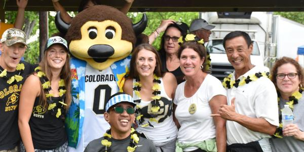Fans at a CU football game in Hawaii.