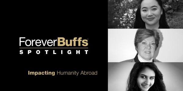 Impacting Humanity Abroad panelists: Toni Christiansen, Maithreyi Gopalakrishnan, and Maggie Grout
