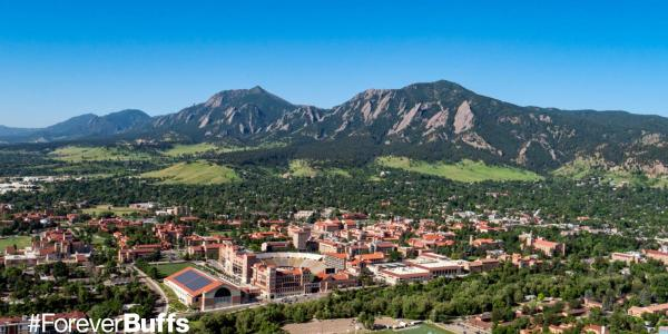 aerial view of CU Boulder campus with flatirons