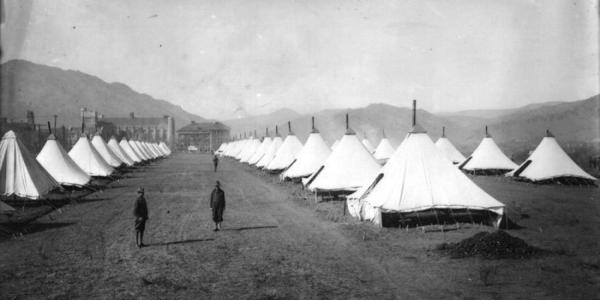 Scan of old photo of tents set up