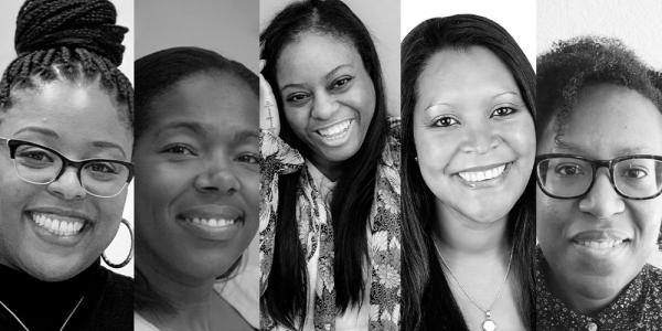 """black and white images of the five speakers for the Black Women, Mental Health and Wellness"""" virtual panel"""