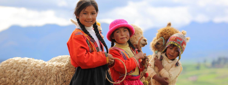kids and alpaca