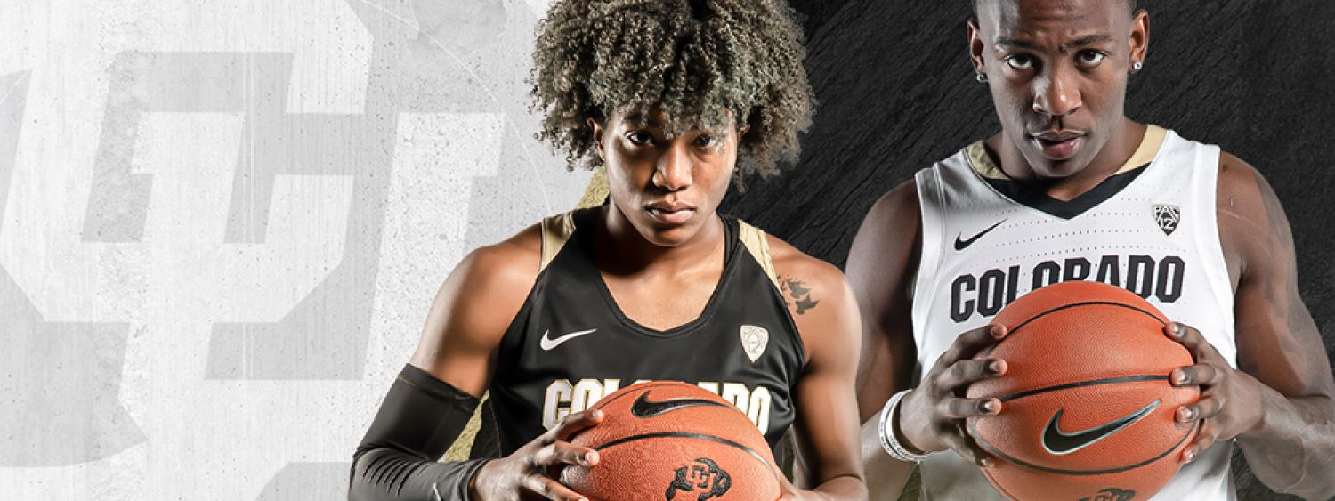 Female and male CU Buffs basketball players
