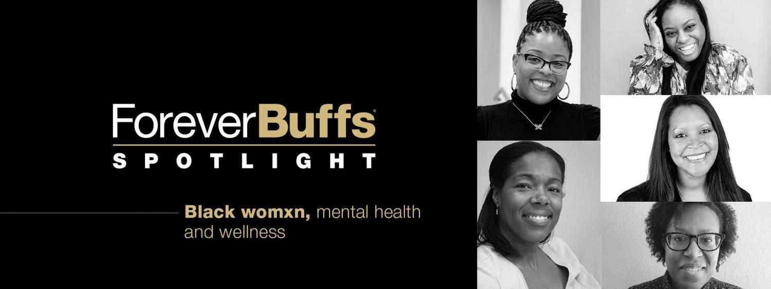 "black and white images of the five speakers for the Black Womxn, Mental Health and Wellness"" virtual panel"