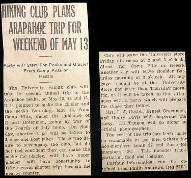 Newspaper Clipping Hiking Club