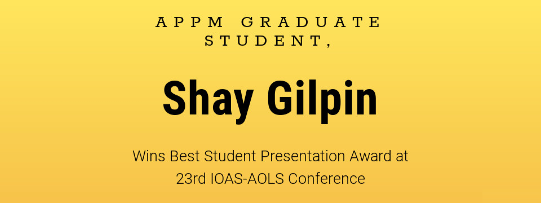 APPM Graduate Student Awarded Best Student Presentation