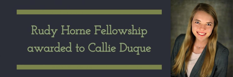 Rudy Horne Fellowship awarded to Callie Duque