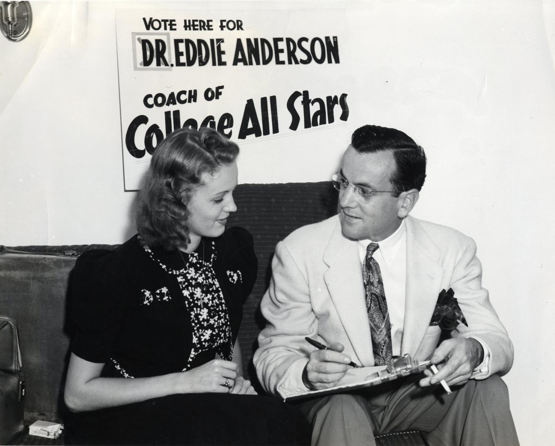 Glenn Miller with fan, Iowa 1940