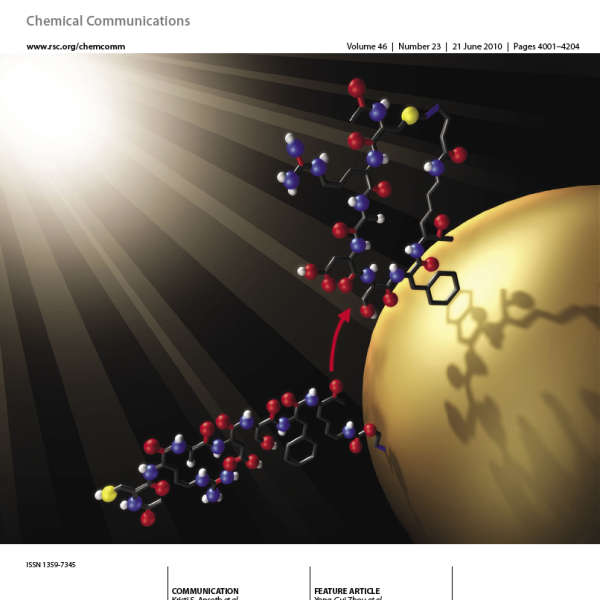 """Inside Front Cover: A.A. Aimetti, R.K. Shoemaker, C.-C. Lin, and K.S. Anseth, """"On-resin Peptide Macrocyclization Using Thiol-ene Click Chemistry,"""" Chemical Communications, 46 (23), 4061-4063 (2010)."""