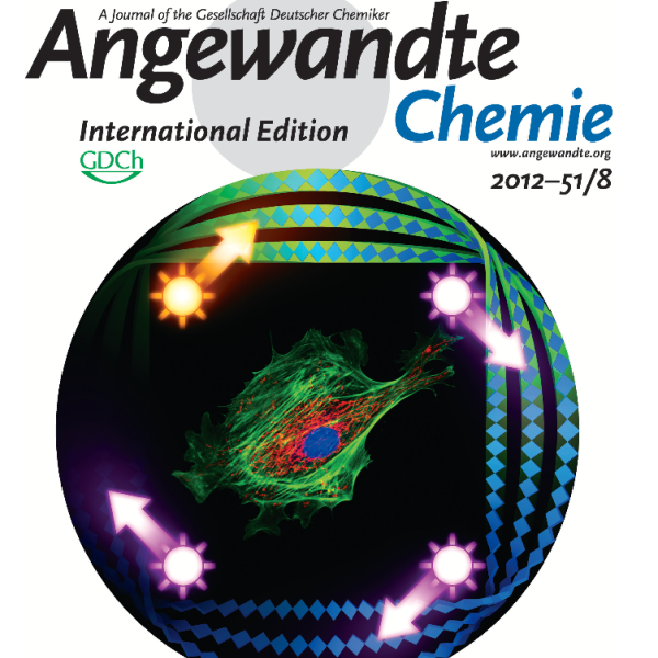 """Inside Front Cover: C.A. DeForest and K.S. Anseth, """"Photoreversible Patterning of Biomolecules within Click-Based Hydrogels,"""" Angewandte Chemie-International Edition, 51 (8), 1816-1819 (2012)."""
