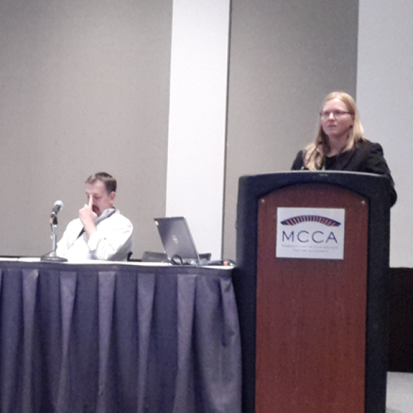 Kristi Anseth giving her talk at SFB Spring Meeting in Boston