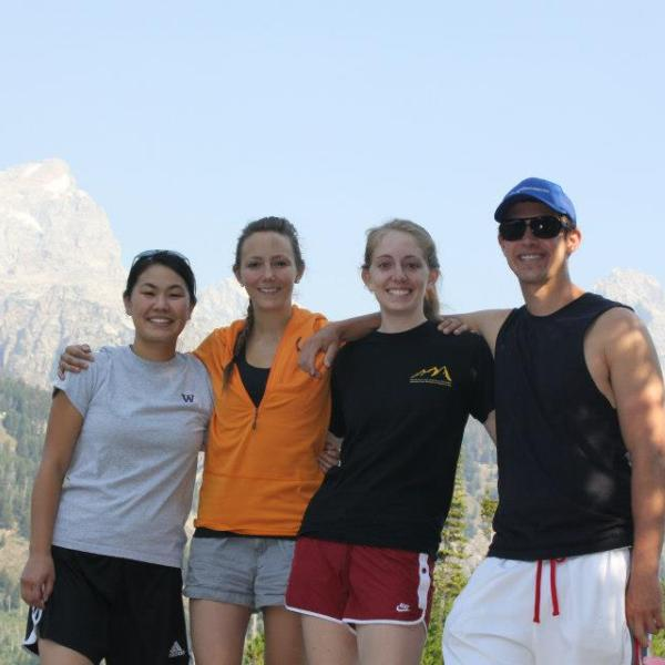 Emi, Emily, Kelly, and Dan at Teton National Park before Polymer Networks 2012