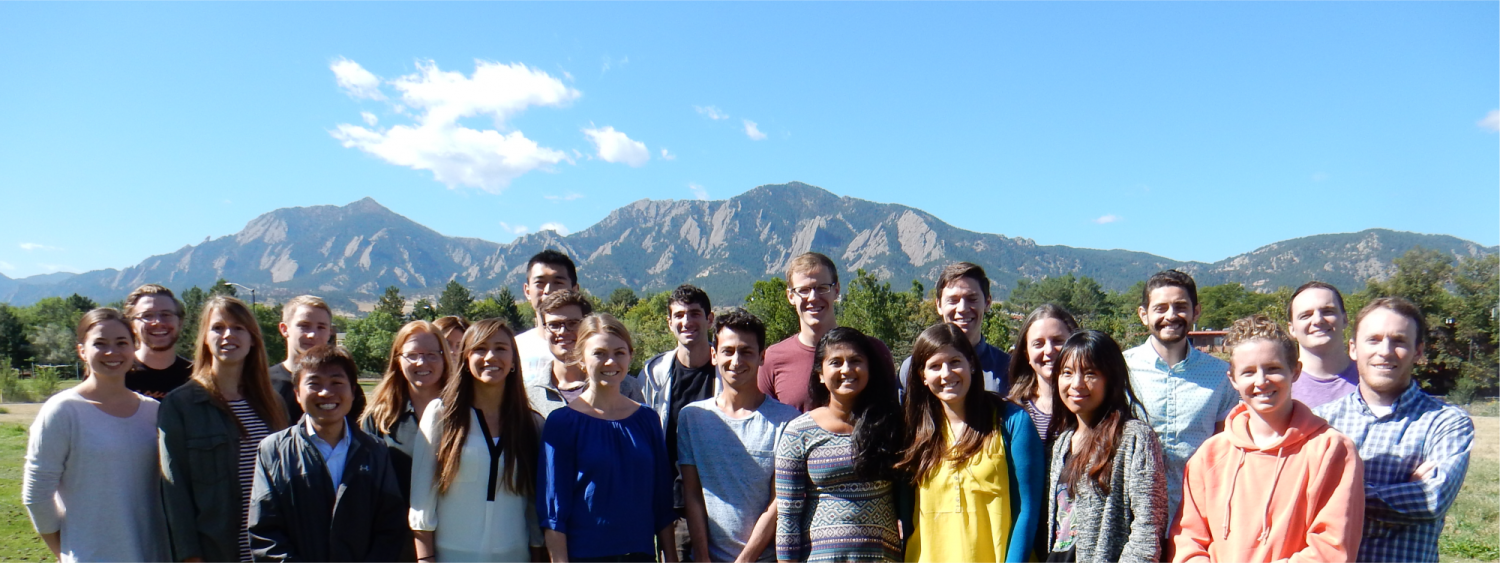 Anseth Group in front of the Boulder Flatirons