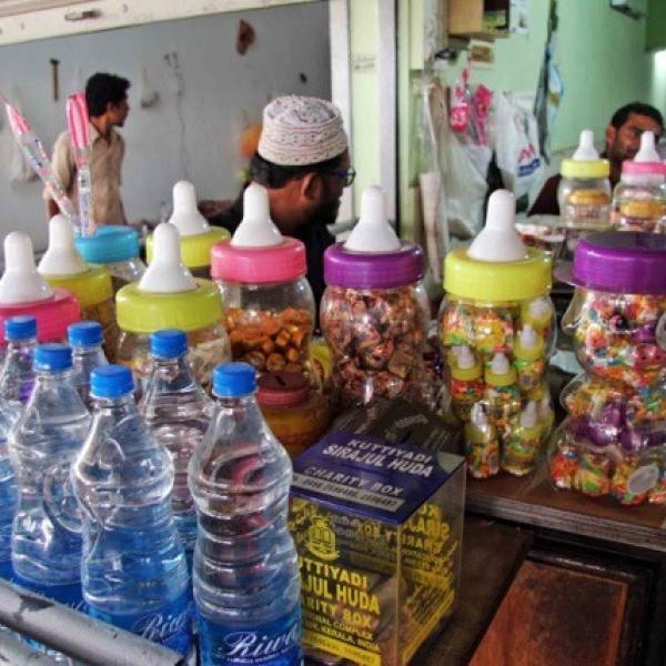 Baby bottles in shop