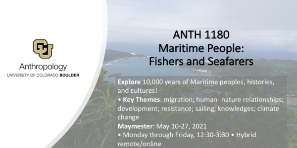 ANTH 1180 promo slide featuring a seascape background