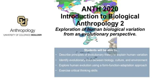 ANTH 2020 2 promo slide featuring map of the world, cells and a skeleton
