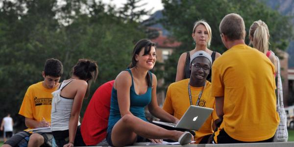 Diverse group of students on Farrand Field