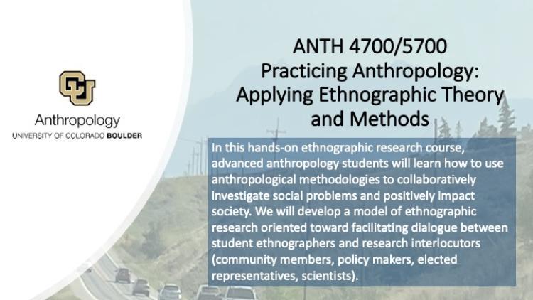 Anth 4700 / 5700 Practicing Anthropology Promo Slide