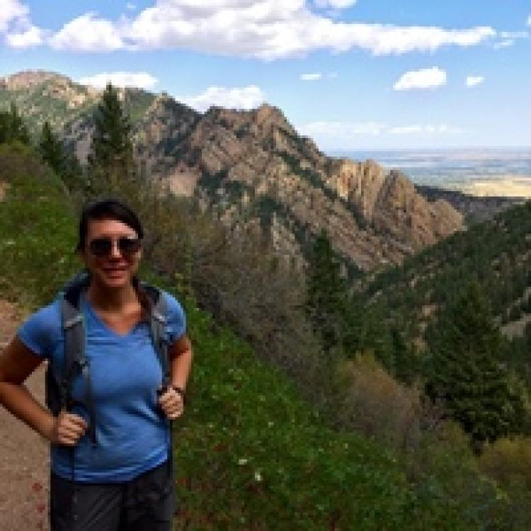 emily hite in the mountains on a hike