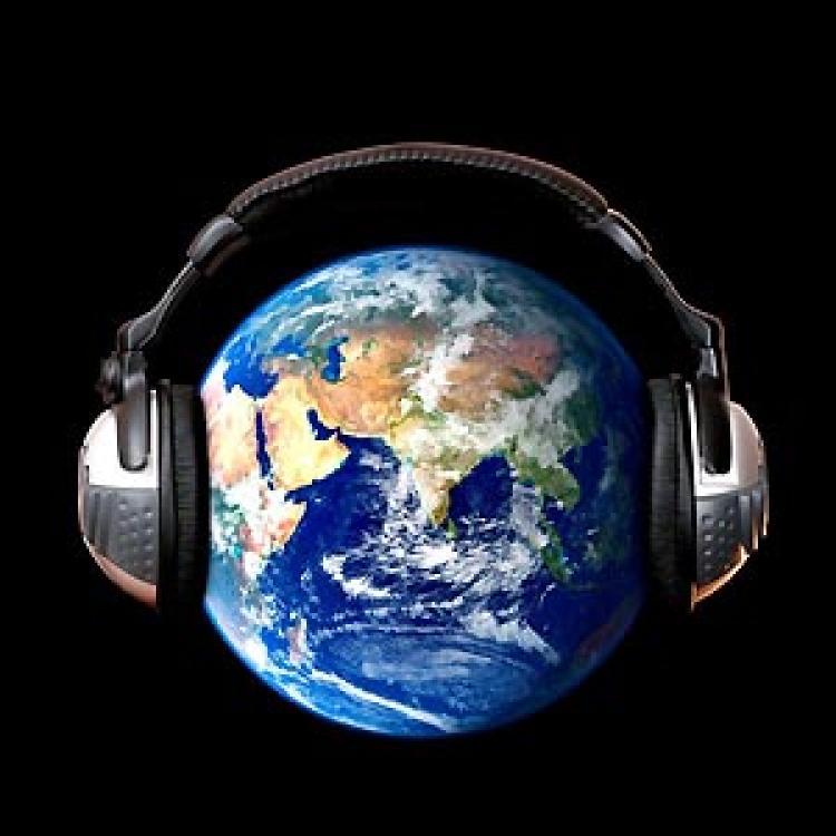 Globe wearing headphones