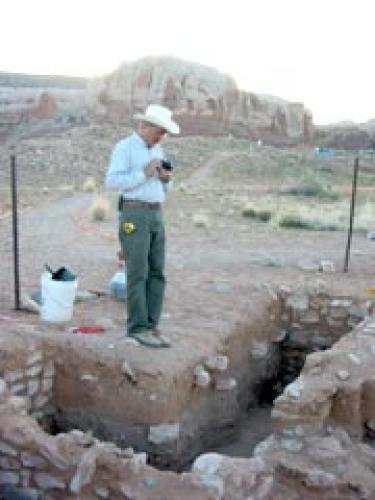 Professor at archaeological site