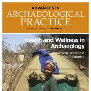 advances-in-archaeological-practice journal cover featuring a women in front of a tent