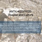 ANTH 4020/5020 Promo Slide with a burnt forest in the background