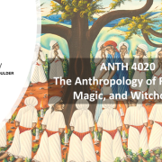 ANTH 4020 Promo slide featuring a circle of witches