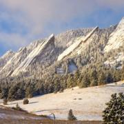 Boulder Flatirons covered in snow
