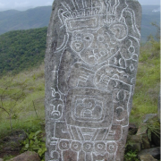 Prehispanic carved stone monument from the coast of Oaxaca, Mexico, depicting the merging of human and jaguar.