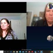 Jessica defending her dissertation via Skype call