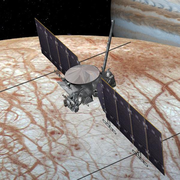 A 2016 artist's view of the Europa Clipper spacecraft. The design could change as the spacecraft is developed.