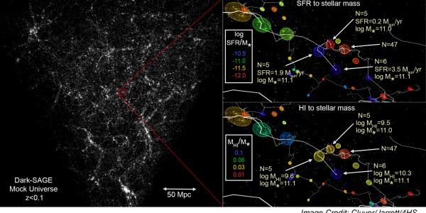 Dark SAGE mock universe showing a web of galaxies