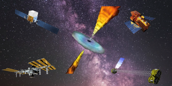 Artist's rendition of a black hole along with several satellites used to measure one.