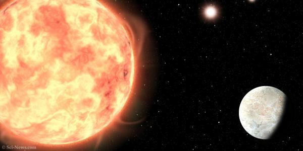 An artist's impression of LTT 1445Ab in the triple-star system LTT 1445. Image credit: Sci-News.com.